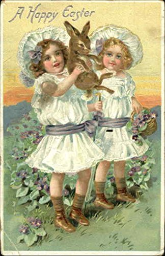 Two pretty girls holding a bunny With Bunnies Original Vintage Postcard