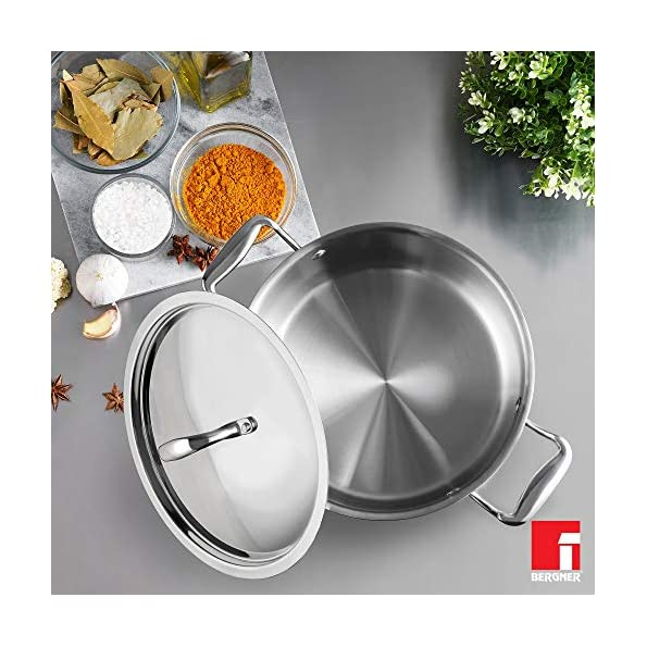 Bergner-Argent-5CX-5-Ply-Stainless-Steel-Casserole-with-Stainless-Steel-Lid-Riveted-Cast-Handle-Induction-Base-24-cm-49-Liters-Silver