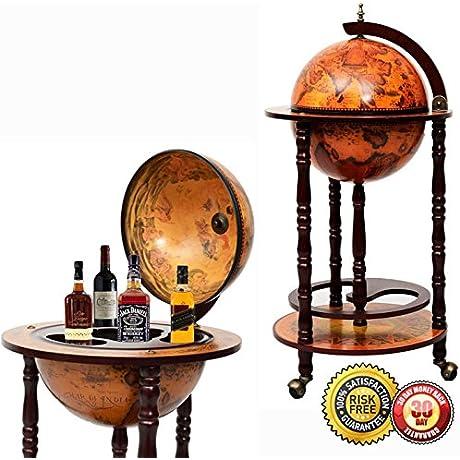 New 36 Wood Globe Wine Bar Stand 16th Century Italian Rack Liquor Bottle Shelf