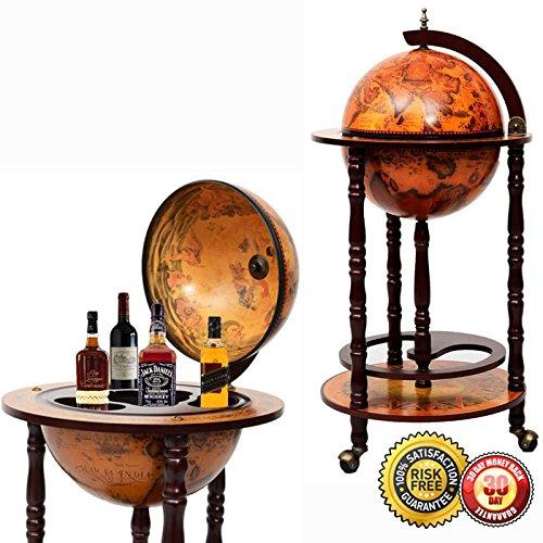 MTN Gearsmith New 36'' Wood Globe Wine Bar Stand 16th Century Italian Rack Liquor Bottle Shelf by MTN Gearsmith