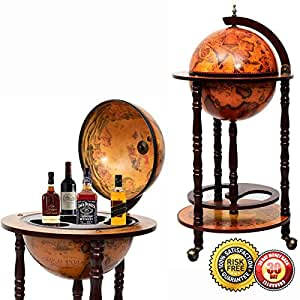 "New 36"" Wood Globe Wine Bar Stand 16th Century Italian Rack Liquor Bottle Shelf"