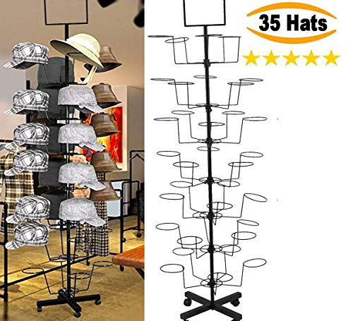 Xixou Hat Display Rack Stand Freestanding Customizable Retail Cowboy Baseball Fedora Hats Hard Durable Stand 7 Tier 35 Circular Hat Hooks [US Stock]