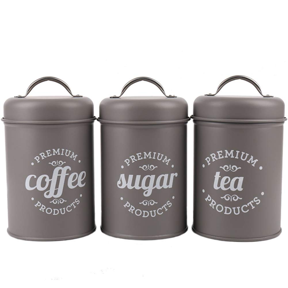 ink2055 3Pcs/Set Tea Coffee Sugar Food Storage Canister Kitchen Spice Jar with Lid