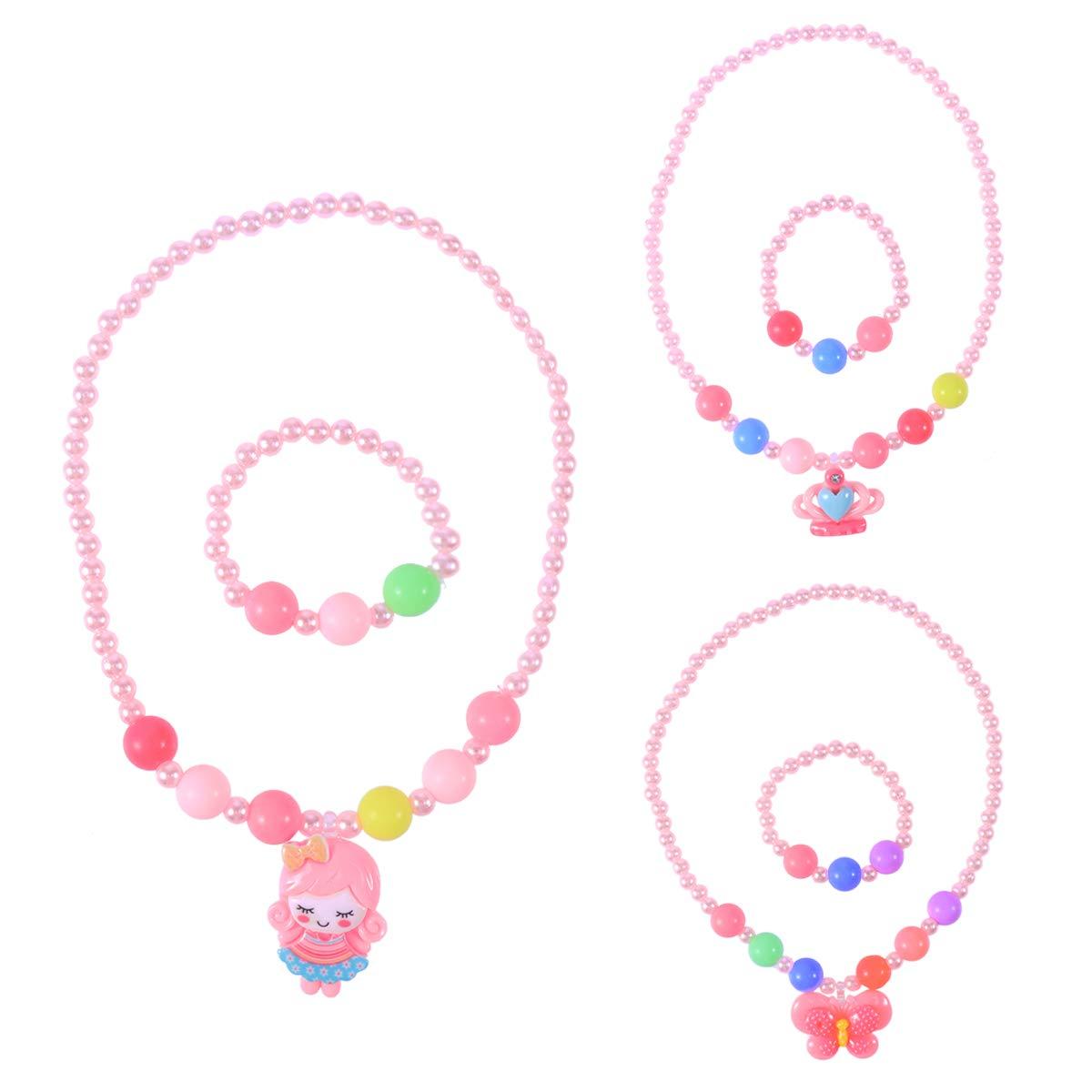 YeahiBaby 3 Sä tze von Kinder Hü bsche Schmuck Candy Farbe Halskette Armband Sets fü r Babys