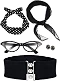 Zhanmai 50'sCostume Accessories Set Includes Scarf Headband Earrings Cat Eye Glasses Waistband for Women Girls Party Supplies (Color Set 1)