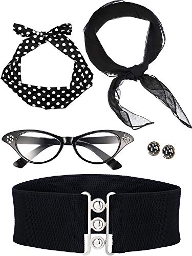 Zhanmai 50'sCostume Accessories Set Includes Scarf Headband Earrings Cat Eye Glasses Waistband for Women Girls Party Supplies (Color Set 1) ()