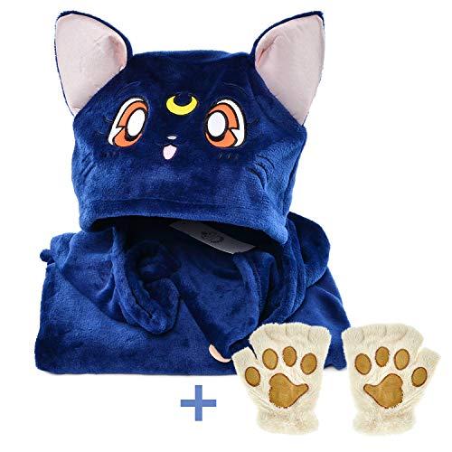 Elibelle Kids Teenager Anime Wearable Hooded Blanket Gloves