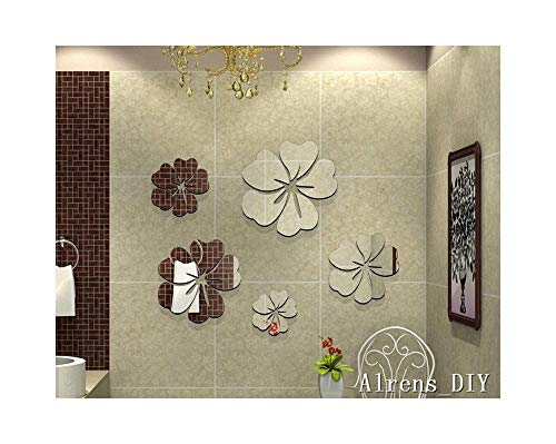 Alrens_DIY(TM) 25pcs=5 Flowers Unique Gifts Crystal Reflective DIY Mirror Effect 3D Wall Stickers Home Decoration Bathroom Decor