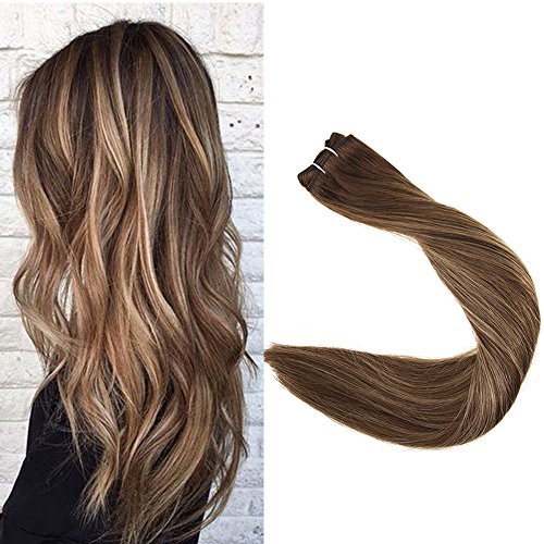 Full Shine 18 inch 100% Real Remy Human Hair Straight Balayage Hair Weft Dip Dyed Color #4 Fading to #24 and #4 Blonde 100gram Per Package (Best Products For Dyed Blonde Hair)