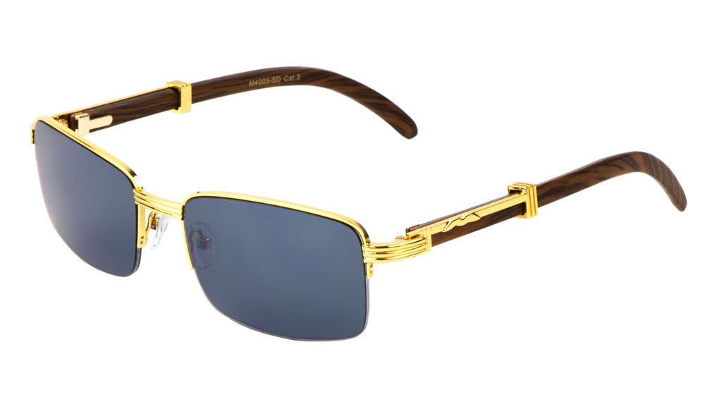 Executive Slim Half Rim Rectangular Metal & Wood Aviator Sunglasses (Gold & Dark Brown Wood, Black) by Luxe
