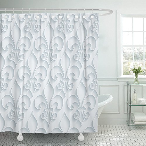 Emvency Shower Curtain Blue White Outline Extrude Effect Fleur De Lis 3D Waterproof Polyester Fabric 72 x 72 Inches Set with Hooks ()