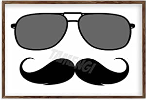 Farmhouse Wall Decor Sign Mustache and Glasses Travel Mug Rustic Wood Frame Home Sign for Farmhouse Home Decor Coffee Wood Sign 8