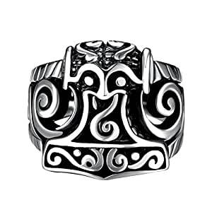 Viking Pirate Rings for Men Women Titanium Stainless Steel Vintga Silver Size 8 Jewelry