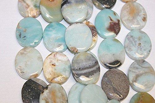 Genuine Stone - 25 X 30 Mm- Flat Oval - Classic Amazonite - 14-15