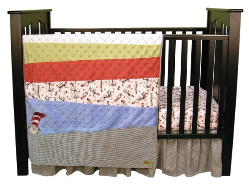 Trend Lab Dr. Seuss Cat in The Hat 3 Piece Crib Bedding Set, Green/Blue/Gray