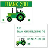 Green Tractor Fill In Thank You Cards for Boys - Kids Birthday Party Thanks (20 Count with Envelopes)