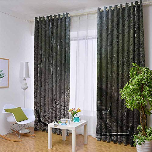 W85 x L85 Inch Apartment Decor Polyester Blackout Room Darkening Curtain Dungeon Old Tunnel Sunlight At The Other Side Mystic Spooky Long Tunnel Illustration Artsy Grommet Curtains for Living RoomBro