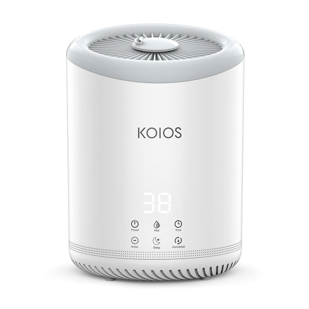 Koios Top Fill Humidifiers, Ultrasonic Cool Mist Humidifier 3 Adjustable Mist Settings, Ultra Quiet, Automatic Shut-Off, Sleep Mode, 4 Liter Large Capacity Open Water Tank Bedroom