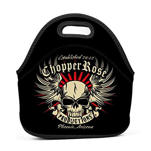 YAsedd Chopper Rose Skull Head Wings Neoprene Lunch Bag Insulated Thermal Cooler Tote School Travel Work Lunchbox Handbags for Men Women Kids Girls Boys ()