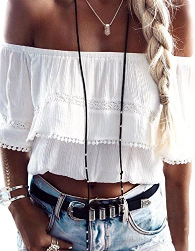 Defal Women Summer Off Shoulder Lace Shirt Sexy Strapless Crop T-Shirt Tops for Juniors