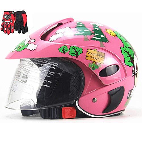 ZJRA Motorradhelm Für Kinder, Motorradhalbhelme, Elektromotorrad Four Seasons Moped Jungen Mädchen Kinder Kinder, 10…