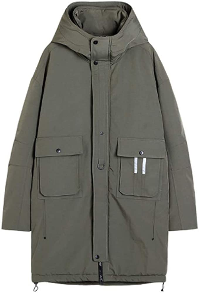 Men Down Jacket Men Winter Coat Long Parkas White Duck Down Fur Hooded Thick Warm Joggers Tracksuit Male Outerwear,Green,XL