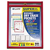 Reusable Dry Erase Pockets, 6 x 9, Assorted Primary Colors, 10/Pack, Sold as 10 Each