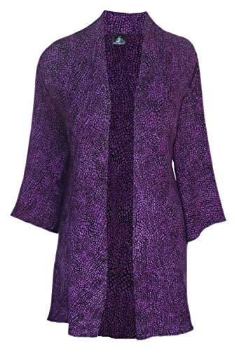 Cascade Kimono Like Jacket with Front Hanky Hem in Plus Size Clothing 2x 3x or 4x, Custom Order Batik Cardigan for Full Figures