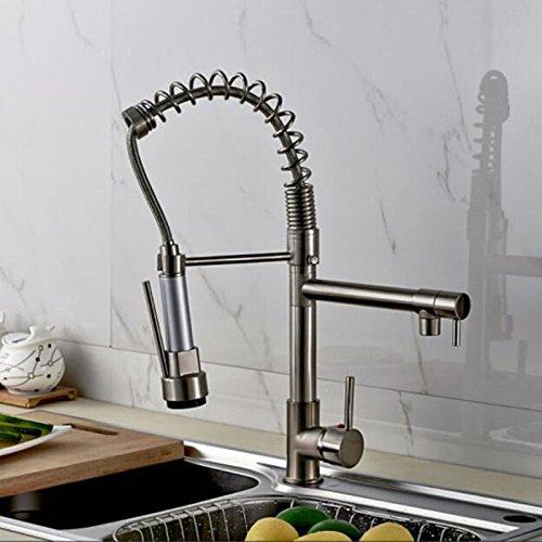 CZOOR Brushed Nickel-Küche-Badezimmer-Hahn Einhebel-Deck montiert Heißes und kaltes Wasser-Hahn Doppelschwenkauslauf