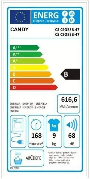 Candy CSC 9dbeb-47-seche Linge Frontal-9 kg-Condensation-b-Noir