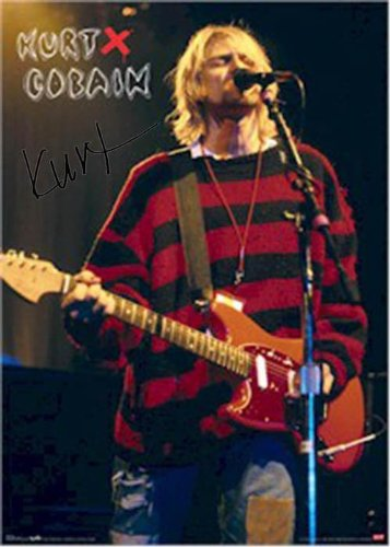 Nirvana Autographed Facsimile Signed Kurt Cobain Red Sweater Poster - Autographed MLB Photos Sports Memorabilia