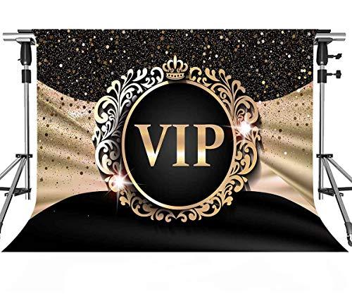 VIP Backdrop for Photography 7x5ft MEETSIOY Royal Crown Black Hollywood VIP Photo Backdrops for Baby Shower Graduation Party Photo Studio Backgrounds Props LFMT319]()