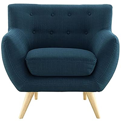 Modway Remark Mid-Century Modern Accent Arm Lounge Chair with Upholstered Fabric in Azure - MID-CENTURY MODERN ARMCHAIR - Showcasing a warm contemporary look, Remark displays timeless intrigue and sophistication. Enhance your modern living room decor with this versatile mid-century armchair. LOUNGE SPOT - Make a statement in the living room, den, recreation area, family room or apartment with this inviting modern armchair with flared arms. Delve deep in both comfort and conversation. INVITING DESIGN - Upholstered in quality polyester, Remark features padded cushions and button tufting that heighten your space. This modern armchair is perfect for mid-century and contemporary décor - living-room-furniture, living-room, accent-chairs - 51BWvgAYVsL. SS400  -