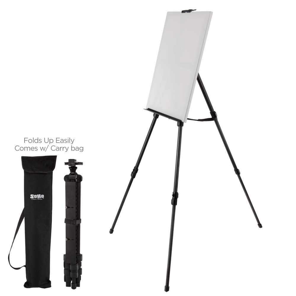 Soho Urban Artist Aluminum Art Easel & Carry Bag for Plein Air Painting - Lightweight Anodized Aluminum Compact Painting Easel, Indoor Outdoor Use Holds Canvases up to 50'' High by Soho Urban Artist