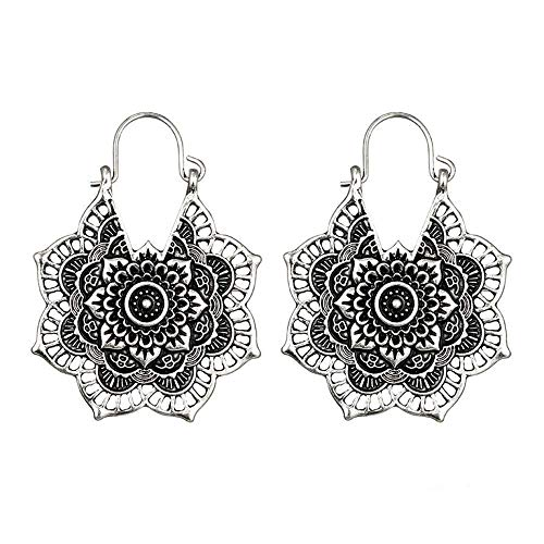 Orcbee  _Antique Silver Gypsy Indian Tribal Ethnic Hoop Dangle Mandala Boho Earrings (Silver) (Skull Key Necklace)