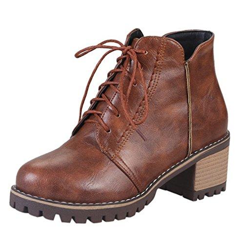 ENMAYER Mujeres Casual Toe Raso Ataque Bloque Heel Tobillo Boots Mediados Talón Corte Zapatos Mediados Talón Corte Zapatos Marrón#G3