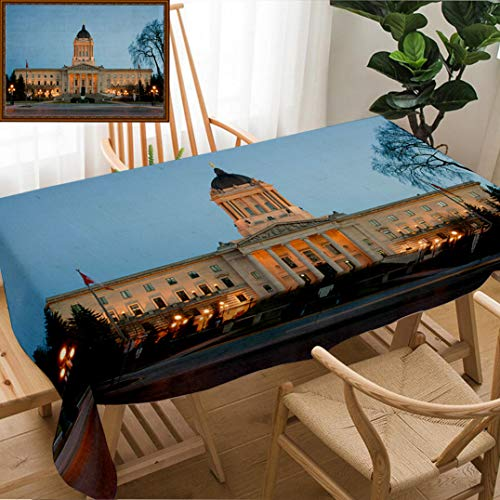 Unique Custom Design Cotton and Linen Blend Tablecloth Manitoba Legislative Building at Dusk in Winnipeg Manitoba CanadaTablecovers for Rectangle Tables, Small Size 48