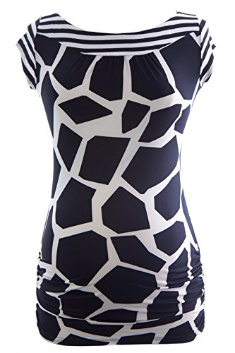 Olian Maternity Women's Abstract Print Rayon Inset Blouse Small Black White