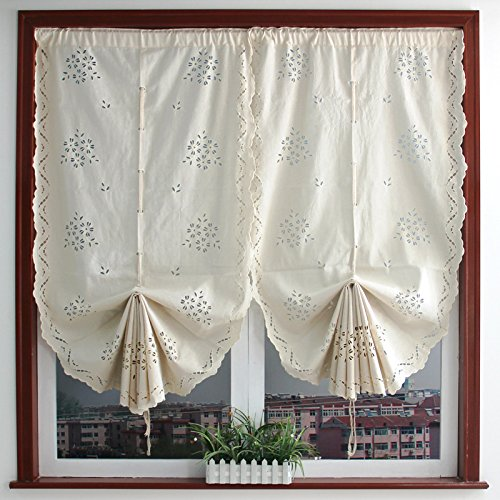 Beige Floral Pattern Cotton Lace Window Curtain Valances for Kitchen Living Dining Room Bathroom Kids Girl Baby Nursery Bedroom 59 x 26 inch