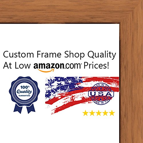 11x14 Traditional Honey Pecan Wood Picture Frame - UV Acrylic, Foam Board Backing, & Hanging Hardware Included!