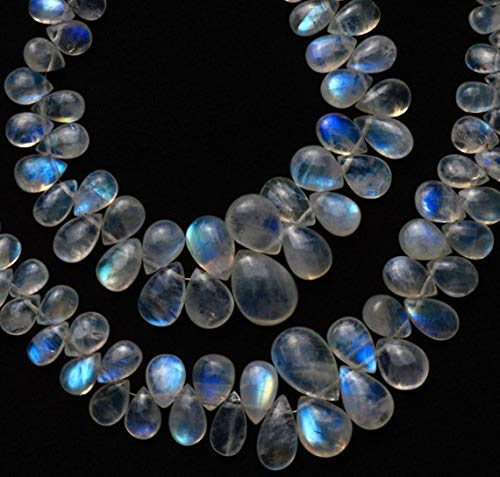 1 Strand Natural Rainbow Moonstone Smooth Pear Shape Briolettes 6 Inch Full Strand 4x6 to 10x14MM by Gemswholesale