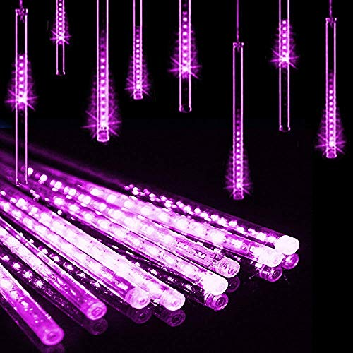 Sparkle Flyer Meteor Shower Rain Lights, Drop/Icicle Snow Falling Raindrop 11.8inches 8 Tubes Waterproof Cascading Lights for Wedding, Christmas, Tree, Party, Home Decor, etc (Purple)