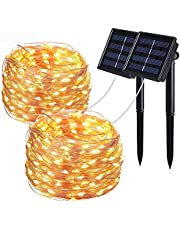 Solar String Lights,Wishlink 2Pack 33ft 100LEDs Copper Wire Outdoor String Fairy Waterproof Christmas Lights 8 Modes Solar Powered Fairy Lights for Home,Gardens, Patios,weddings and Parties Warm White