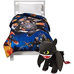 TWIN Size HOW TO TRAIN YOUR DRAGON 2 REVERSIBLE Comforter + TOOTHLESS NIGHT FURY Pillow