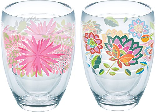Tervis 1232708 Pink Mums, Boho Chic Insulated Tumbler with Wrap 2 Pack – Boxed, 9oz Stemless Wine Glass, Clear