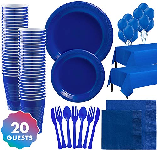 Party City Solid Royal Blue Premium Plastic Tableware Supplies for 20 Guests, Include Plates, Napkins, and Balloons