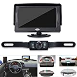 Backup Camera and Monitor Kit for Car, GerTong Universal Waterproof Rear View License Plate Car Backup Camera + 4.3 Inches LCD Monitor