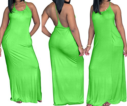 Fashion Femmes Unie Cocktail Fluorescent Nu Couleur Robes Dos Sexy Maxi de t Pin de Plage Robe Soire Fte Vert de Robe Up grg5Yqw