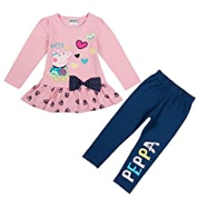 Little Kids Cute Cartoon Stitching Cotton Top Pant Sets (Set of 2 Pieces) 1-6Y