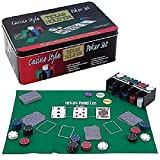 Casino Style Texas Hold' Em Poker Chip Set 200 Pcs with Layout Mat
